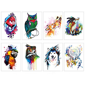 cheap Tattoo Stickers-LITBest 6 Sheets Randomly Temporary Tattoos Half Arm Tattoo Sleeves Animals For Men Body Armband Soldier Fake Tatoo Stickers TH313-TH320