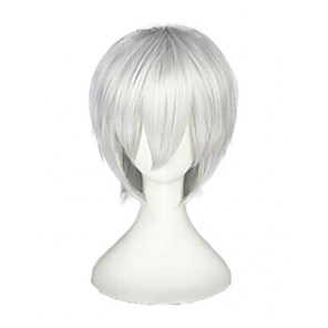 cheap Costume Wigs-Synthetic Wig Ken Kaneki Tokyo Ghoul Straight Cosplay Layered Haircut Wig Short Brown Silver Grey Blue Green Synthetic Hair 10 inch Men's Cosplay Silver hairjoy