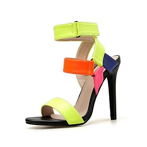 cheap Women's Sandals-Women's Sandals Summer Stiletto Heel Open Toe Daily PU Rainbow