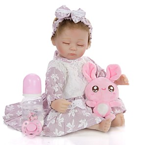 cheap Reborn Doll-KEIUMI 16 inch Reborn Doll Baby & Toddler Toy Reborn Toddler Doll Baby Girl Gift Cute Lovely Parent-Child Interaction Tipped and Sealed Nails Half Silicone and Cloth Body with Clothes and Accessories