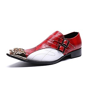 cheap Men's Slip-ons & Loafers-Men's Dress Shoes Summer Daily Party & Evening Loafers & Slip-Ons Cowhide Handmade Red