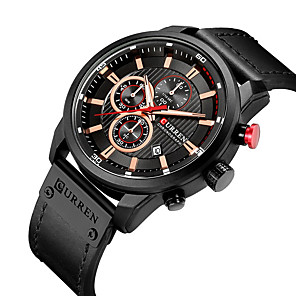 cheap Abstract Paintings-CURREN Men's Dress Watch Quartz Formal Style Modern Style Luxury Water Resistant / Waterproof Leather Black / Brown / Chocolate Analog - Black / Silver Black Black / Blue One Year Battery Life