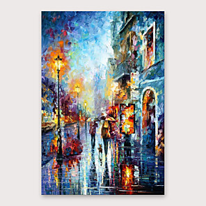 cheap Abstract Paintings-IARTS®Hand Painted Streetscape Oil Painting   with Stretched Frame For Home Decoration