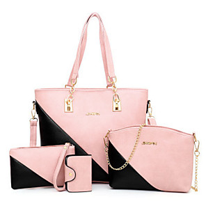 cheap Women's Sandals-Women's Bags PU Leather Bag Set 4 Pieces Purse Set for Daily White / Red / Blushing Pink / Bag Sets / Fall & Winter