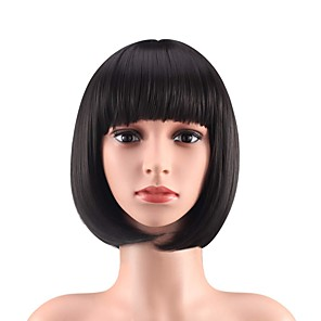 cheap Synthetic Trendy Wigs-Synthetic Wig Natural Straight With Bangs Wig Medium Length Brown Blonde Black Synthetic Hair 12 inch Women's Party Adorable Fashion Blonde Black