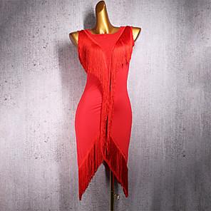 cheap Latin Dancewear-Latin Dance Dress Tassel Women's Performance Sleeveless Spandex