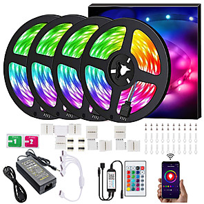 cheap LED Strip Lights-LED Strip Lights RGB Strips 20M Tape Light 600LEDs SMD5050 Music Sync Color Changing  Bluetooth Controller  24Key Remote Control Decoration for Home TV Party - APP Controlled