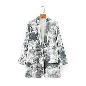 cheap iPhone Cases-Women's Shawl Lapel Blazer Tie Dye Gray S / M / L
