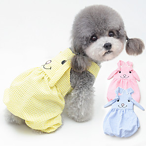 cheap Dog Clothes-Dog Dress Pajamas Plaid / Check Casual / Sporty Cute Party Casual / Daily Dog Clothes Breathable Yellow Blue Pink Costume Cotton S M L XL XXL
