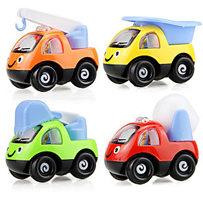 cheap Toy Cars-Toy Car Vehicle Playset Pull Back Car / Inertia Car Mini Truck Police car Cartoon Toy Colorful Plastic Mini Car Vehicles Toys for Party Favor or Kids Birthday Gift 6 pcs