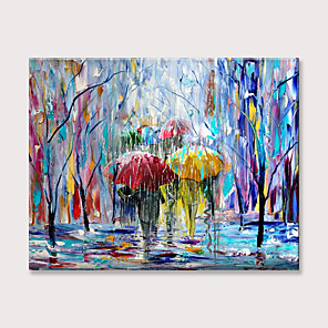 cheap Abstract Paintings-Painting on Canvas Pedestrians Rain Street Tree Palette knife Abstract Landscape Art Paintings Canvas Wall Art Modern Home Living Room Office Decor Abstract Painting