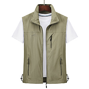 cheap Softshell, Fleece & Hiking Jackets-Men's Hiking Vest / Gilet Summer Outdoor Windproof Breathable Quick Dry Multi Pocket Top Camping / Hiking Hunting Fishing Black / Red / Army Green / Grey / Khaki