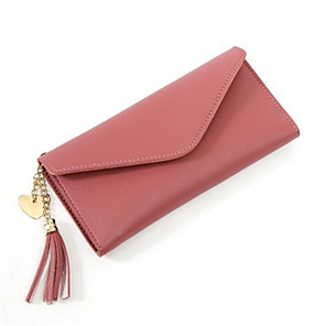 cheap Hair Jewelry-Women's Bags PU Leather Wallet Tassel for Daily Blushing Pink