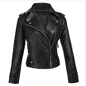 cheap Costume Wigs-Women's Shirt Collar Faux Leather Jacket Regular Solid Colored Work Black S M L / Slim
