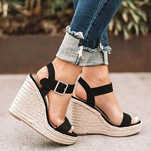 cheap Women's Sandals-Women's Sandals Summer Wedge Heel Open Toe Daily Solid Colored Suede Almond / Black / Gray