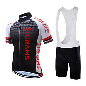 cheap Cycling Jersey & Shorts / Pants Sets-Men's Short Sleeve Cycling Jersey with Bib Shorts Polyester Black White Yellow Plaid / Checkered Bike Clothing Suit Quick Dry Moisture Wicking Sports Plaid / Checkered Mountain Bike MTB Road Bike