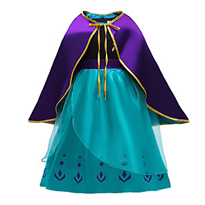 cheap Movie & TV Theme Costumes-Anna Dress Cosplay Costume Girls' Movie Cosplay Halloween Blue Dress Cloak Christmas Halloween New Year Polyester / Cotton