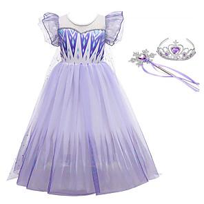 cheap Movie & TV Theme Costumes-Frozen Dress Cosplay Costume Party Costume Girls' Movie Cosplay Halloween Purple Dress Wand Halloween New Year Polyester / Cotton