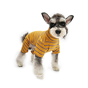 cheap Dog Clothes-Dog Jumpsuit Pajamas Stripes Casual / Sporty Cute Sports Casual / Daily Dog Clothes Warm Yellow Orange Brown Costume Cotton S M L XL XXL