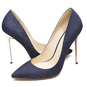 cheap Women's Sandals-Women's Heels Summer Stiletto Heel Pointed Toe Daily Solid Colored Denim Blue / Dark Blue