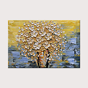 cheap Abstract Paintings-Hand Painted Canvas Oil Painting White Flower Painting Modern Home Interior Decoration Abstract Wall Art