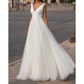 cheap Jewelry Sets-A-Line Wedding Dresses V Neck Sweep / Brush Train Chiffon Tulle Sleeveless Simple with Appliques 2020