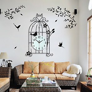 cheap Wall Clocks-Birds & Flowers Design Black Metal Analog Wall Clock/Wall Mounted Decorative Accent with Rhinestones