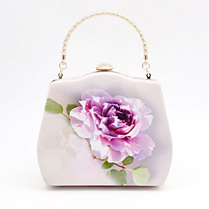 cheap Handbag & Totes-Women's Bags Satin Evening Bag Flower for Event / Party Purple