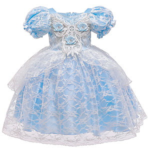 cheap Movie & TV Theme Costumes-Cinderella Princess Elsa Dress Flower Girl Dress Girls' Movie Cosplay A-Line Slip Blue Dress Halloween Children's Day Masquerade Polyester