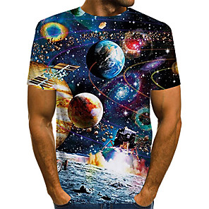 cheap LED String Lights-Men's Daily Plus Size T-shirt Galaxy Graphic Print Short Sleeve Tops Basic Exaggerated Round Neck Rainbow