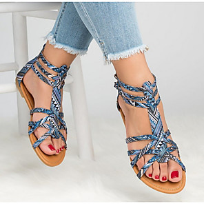 cheap Women's Sandals-Women's Sandals Summer Flat Heel Round Toe Daily Snake Patent Leather Light Brown / Light Red / Blue / Roman Shoes / Gladiator Sandals
