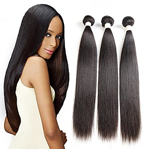 cheap Colored Hair Weaves-3 Bundles Hair Weaves Peruvian Hair Straight Human Hair Extensions Remy Human Hair 100% Remy Hair Weave Bundles 300 g Natural Color Hair Weaves / Hair Bulk Human Hair Extensions 8-28 inch Natural