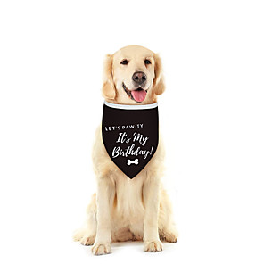 cheap Dog Clothes-Dog Cat Bandanas & Hats Dog Bandana Dog Bibs Scarf Cartoon Letter & Number Casual / Sporty Cute Birthday Sports Dog Clothes Adjustable Black Costume Cotton Polyster