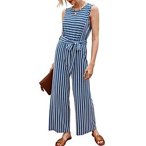 cheap Kids' LED Shoes-Women's Blue Blushing Pink Jumpsuit Onesie, Striped S M L Cotton