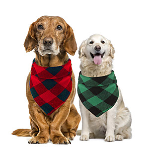 cheap Dog Clothes-Dog Cat Bandanas & Hats Dog Bandana Dog Bibs Scarf Plaid / Check Party Cute Christmas Party Dog Clothes Adjustable Costume Cotton S L