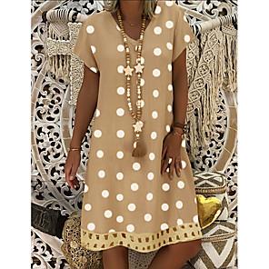 cheap Women's Sandals-Women's Shift Dress Knee Length Dress - Short Sleeve Polka Dot Print Summer V Neck Plus Size Casual Holiday Vacation 2020 Blue Khaki Gray M L XL XXL XXXL XXXXL XXXXXL
