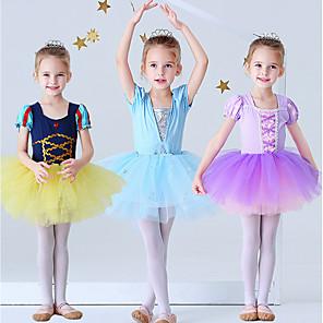 cheap Movie & TV Theme Costumes-Princess Elsa Rapunzel Dress Flower Girl Dress Girls' Movie Cosplay A-Line Slip Purple / Yellow / Blue Dress Halloween Children's Day Masquerade Polyester