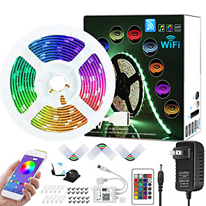 cheap LED Strip Lights-ZDM 7.5M WIFI App Controlled Music Sync Colour Changing RGB LED Strip Lights with 24-Key Remote Sensitive Built-in Mic 5050 RGB LED Light Strip Kit DC12V