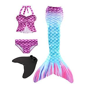 cheap Necklaces-Kids Girls' Active Cute The Little Mermaid Geometric Sleeveless Swimwear Purple