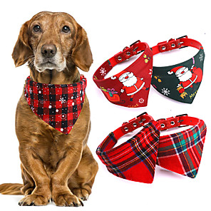 cheap Dog Clothes-Dog Cat Bandanas & Hats Dog Bandana Dog Bibs Scarf Plaid / Check Cartoon Party Cute Christmas Party Dog Clothes Adjustable Costume Cotton Polyster S M