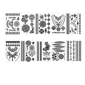 cheap Tattoo Stickers-6 Sheets Randomly tattoo designs Temporary Tattoos Henna Tattoo Stickers Lace Mehndi Temporary Tattoos for Maverick Women Teens Girls YHB01-08