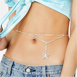 cheap Necklaces-Body Chain Waist Chain Luxury Sexy European Women's Body Jewelry For Masquerade Holiday Imitation Diamond Alphabet Shape Heart Silver