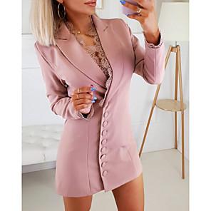 cheap Women's Boots-Women's Sheath Dress Short Mini Dress - Long Sleeve Solid Color Fall Elegant 2020 Blushing Pink S M L