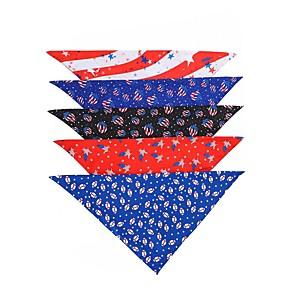 cheap Dog Clothes-Dog Cat Bandanas & Hats Dog Bandana Dog Bibs Scarf National Flag Casual / Sporty Fashion Christmas Birthday Dog Clothes Adjustable Costume Polyester L