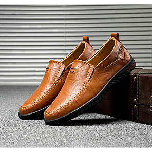 cheap Men's Slip-ons & Loafers-Men's Summer Daily Loafers & Slip-Ons PU Black / Yellow / Brown