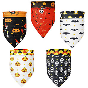 cheap Dog Clothes-Dog Cat Bandanas & Hats Dog Bandana Dog Bibs Scarf Cartoon Party Casual / Sporty Party Halloween Dog Clothes Adjustable Costume Polyster L