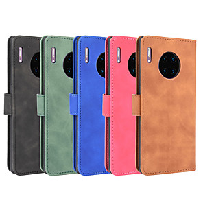 cheap Samsung Case-Case For Huawei P40 P40Pro P40lite P40liteE Y7P Honor 9C V30 V30Pro Mate 30 30Pro Nova 6 6(5G) 6SE 7i Wallet  Shockproof Magnetic Full Body Cases Solid Colored PU Leather TPU