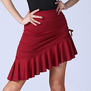 cheap Latin Dancewear-Latin Dance Skirts Pleats Ruching Women's Training Elastane