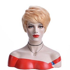 cheap Synthetic Trendy Wigs-Synthetic Wig Natural Straight Asymmetrical Wig Short Light golden Synthetic Hair 6 inch Women's Party Blonde