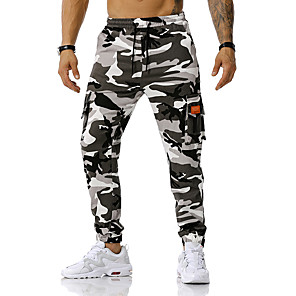 cheap Synthetic Trendy Wigs-Men's Sporty Pants Active Sports Outdoor Casual Daily Wear Loose Tactical Cargo Pants Camouflage Spring Fall Blue Green Light gray S M L